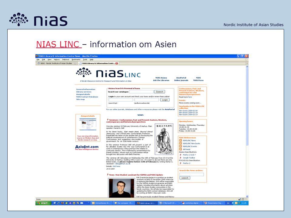 NIAS LINC NIAS LINC – information om Asien