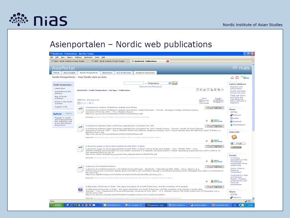 Asienportalen – Nordic web publications