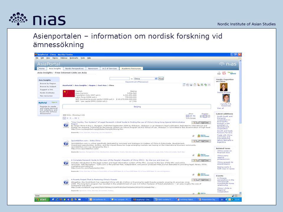 Asienportalen – information om nordisk forskning vid ämnessökning