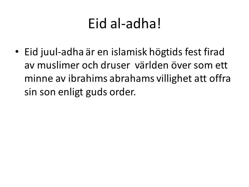 Eid al-adha! • Eid juul-adha är en islamisk högtids fest firad av muslimer och druser världen över som ett minne av ibrahims abrahams villighet att of