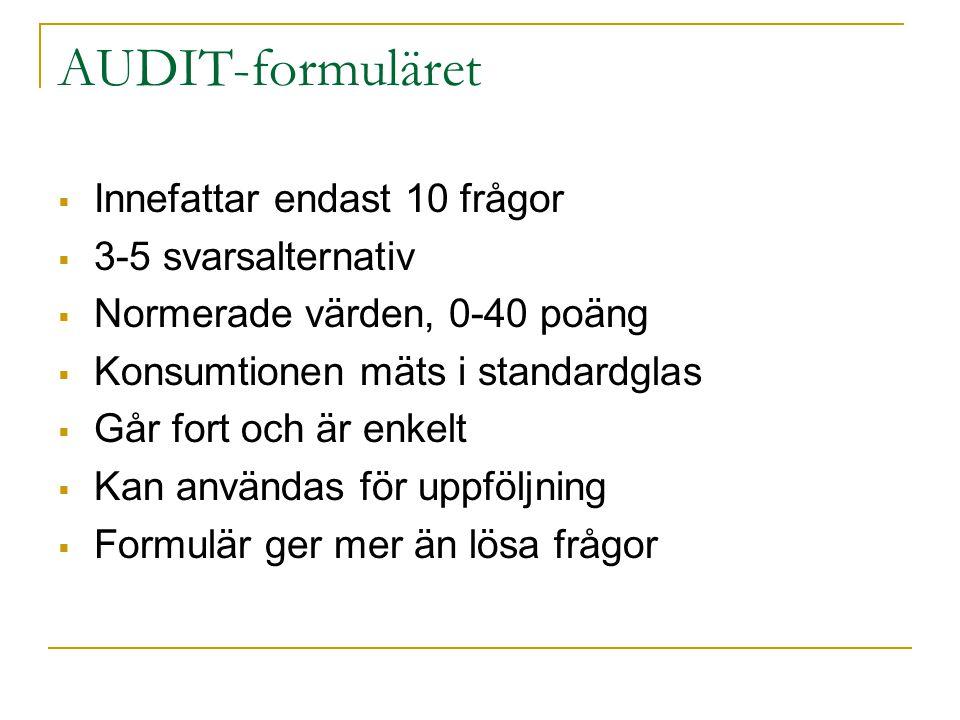 AUDIT-formuläret  Innefattar endast 10 frågor  3-5 svarsalternativ  Normerade värden, 0-40 poäng  Konsumtionen mäts i standardglas  Går fort och är enkelt  Kan användas för uppföljning  Formulär ger mer än lösa frågor