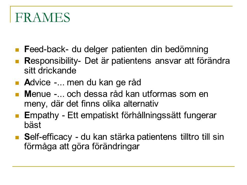 FRAMES  Feed-back- du delger patienten din bedömning  Responsibility- Det är patientens ansvar att förändra sitt drickande  Advice -...