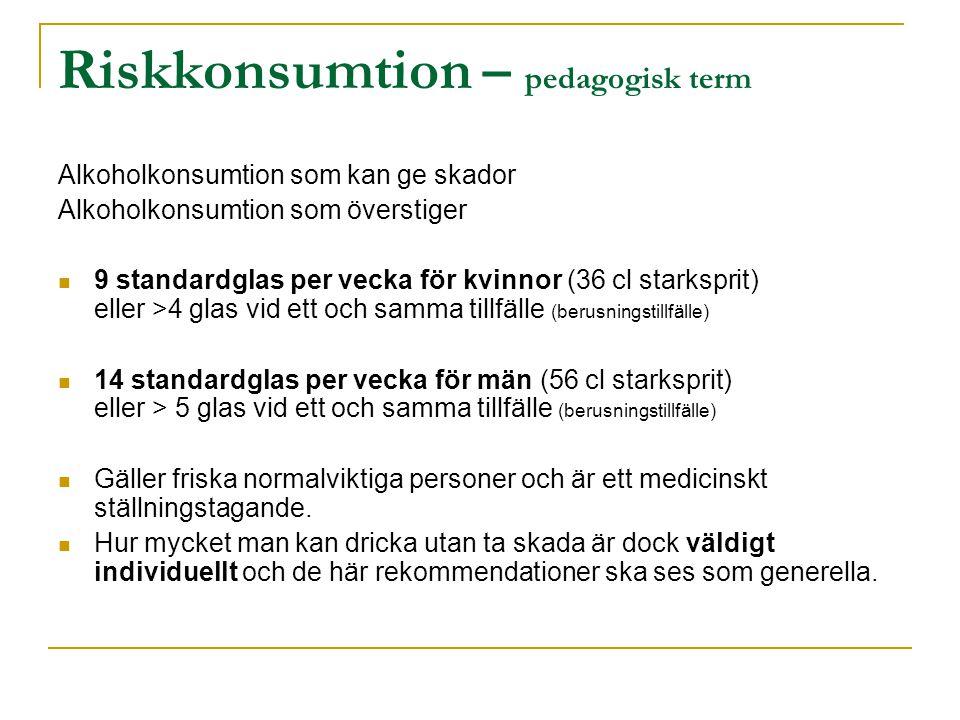 Riskkonsumtion – pedagogisk term Alkoholkonsumtion som kan ge skador Alkoholkonsumtion som överstiger  9 standardglas per vecka för kvinnor (36 cl starksprit) eller >4 glas vid ett och samma tillfälle (berusningstillfälle)  14 standardglas per vecka för män (56 cl starksprit) eller > 5 glas vid ett och samma tillfälle (berusningstillfälle)  Gäller friska normalviktiga personer och är ett medicinskt ställningstagande.