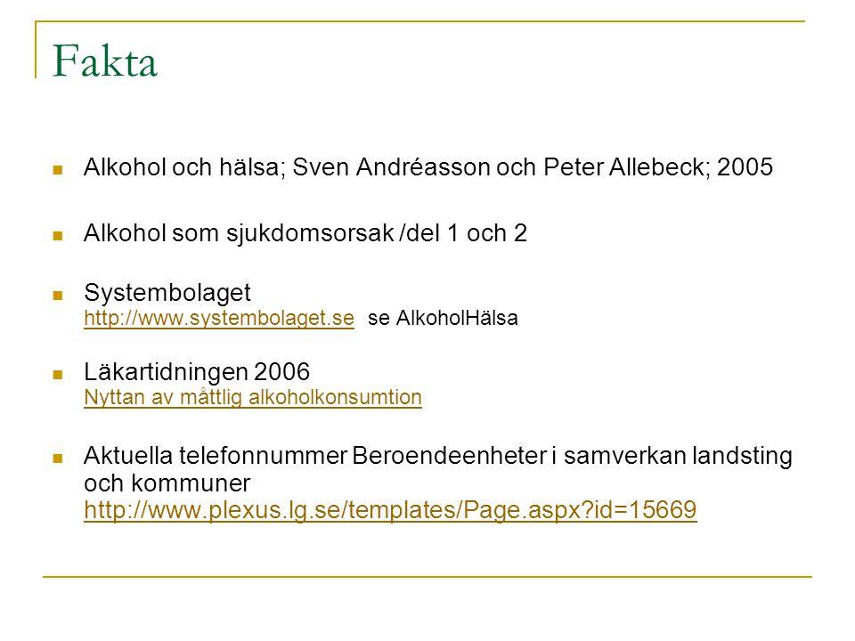 Fakta  Alkohol och hälsa; Sven Andréasson och Peter Allebeck; 2005  Alkohol som sjukdomsorsak /del 1 och 2  Systembolaget http://www.systembolaget.se se AlkoholHälsa http://www.systembolaget.se  Läkartidningen 2006 Nyttan av måttlig alkoholkonsumtion Nyttan av måttlig alkoholkonsumtion  Aktuella telefonnummer Beroendeenheter i samverkan landsting och kommuner http://www.plexus.lg.se/templates/Page.aspx?id=15669 http://www.plexus.lg.se/templates/Page.aspx?id=15669