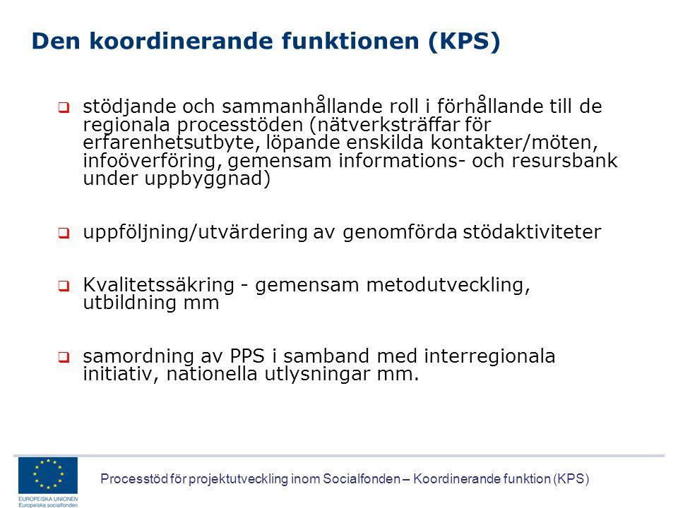 Processtöd för projektutveckling inom Socialfonden – Koordinerande funktion (KPS) Den koordinerande funktionen (KPS)  stödjande och sammanhållande ro