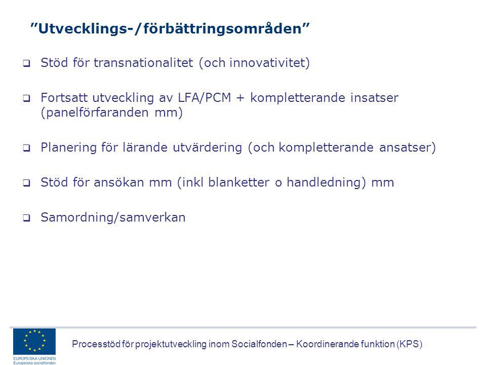 """Processtöd för projektutveckling inom Socialfonden – Koordinerande funktion (KPS) """"Utvecklings-/förbättringsområden""""  Stöd för transnationalitet (och"""