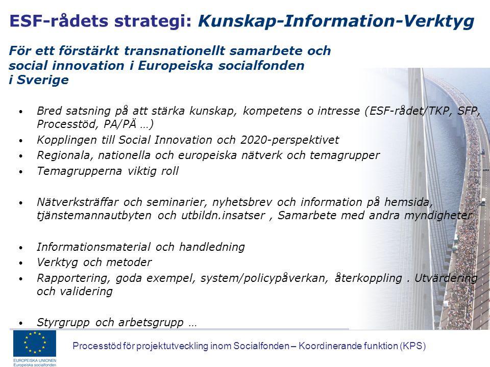 Processtöd för projektutveckling inom Socialfonden – Koordinerande funktion (KPS) ESF-rådets strategi: Kunskap-Information-Verktyg För ett förstärkt t