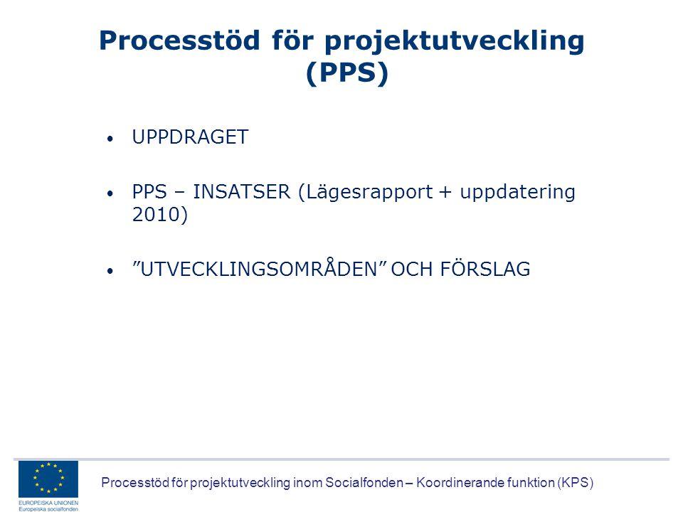 Processtöd för projektutveckling inom Socialfonden – Koordinerande funktion (KPS) Processtöd för projektutveckling (PPS) • UPPDRAGET • PPS – INSATSER
