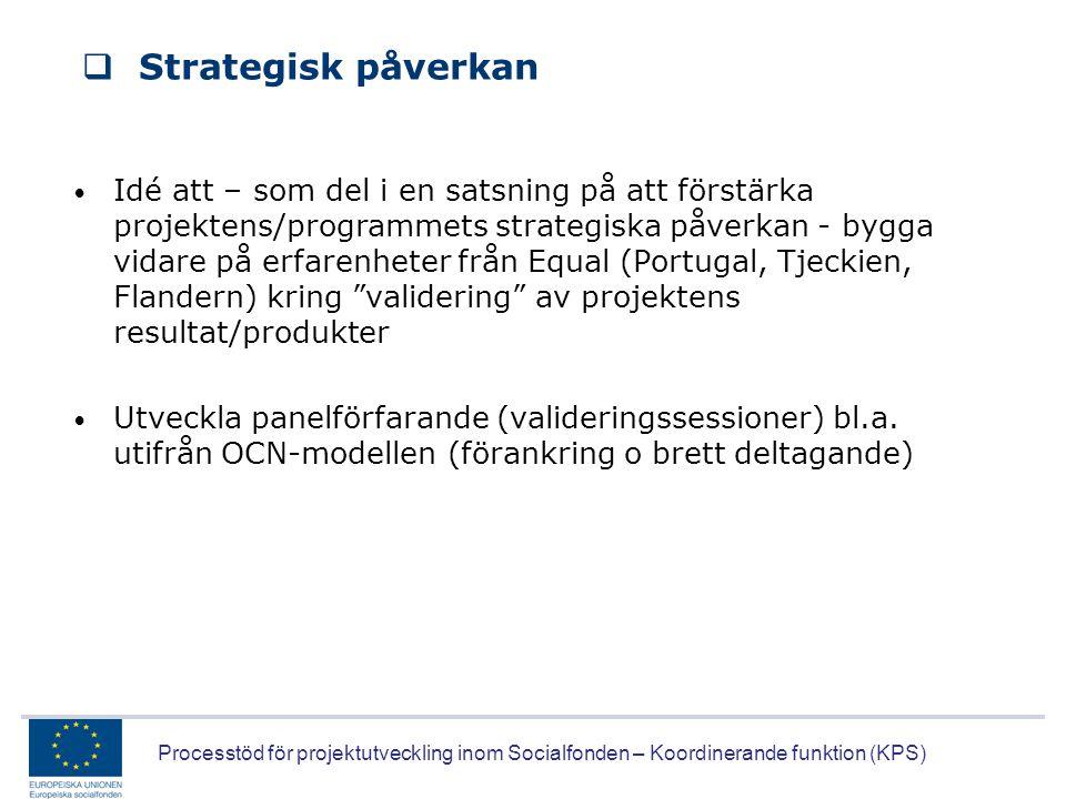 Processtöd för projektutveckling inom Socialfonden – Koordinerande funktion (KPS)  Strategisk påverkan • Idé att – som del i en satsning på att först