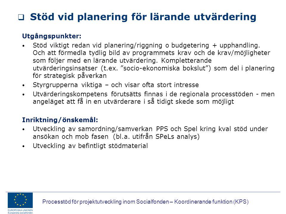Processtöd för projektutveckling inom Socialfonden – Koordinerande funktion (KPS)  Stöd vid planering för lärande utvärdering Utgångspunkter: • Stöd