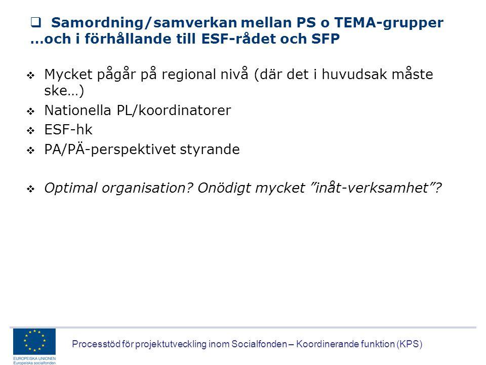 Processtöd för projektutveckling inom Socialfonden – Koordinerande funktion (KPS)  Samordning/samverkan mellan PS o TEMA-grupper …och i förhållande t