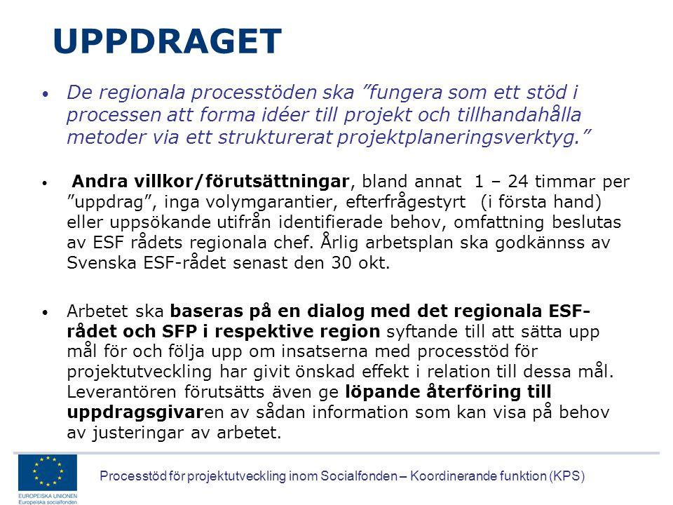 """Processtöd för projektutveckling inom Socialfonden – Koordinerande funktion (KPS) UPPDRAGET • De regionala processtöden ska """"fungera som ett stöd i pr"""