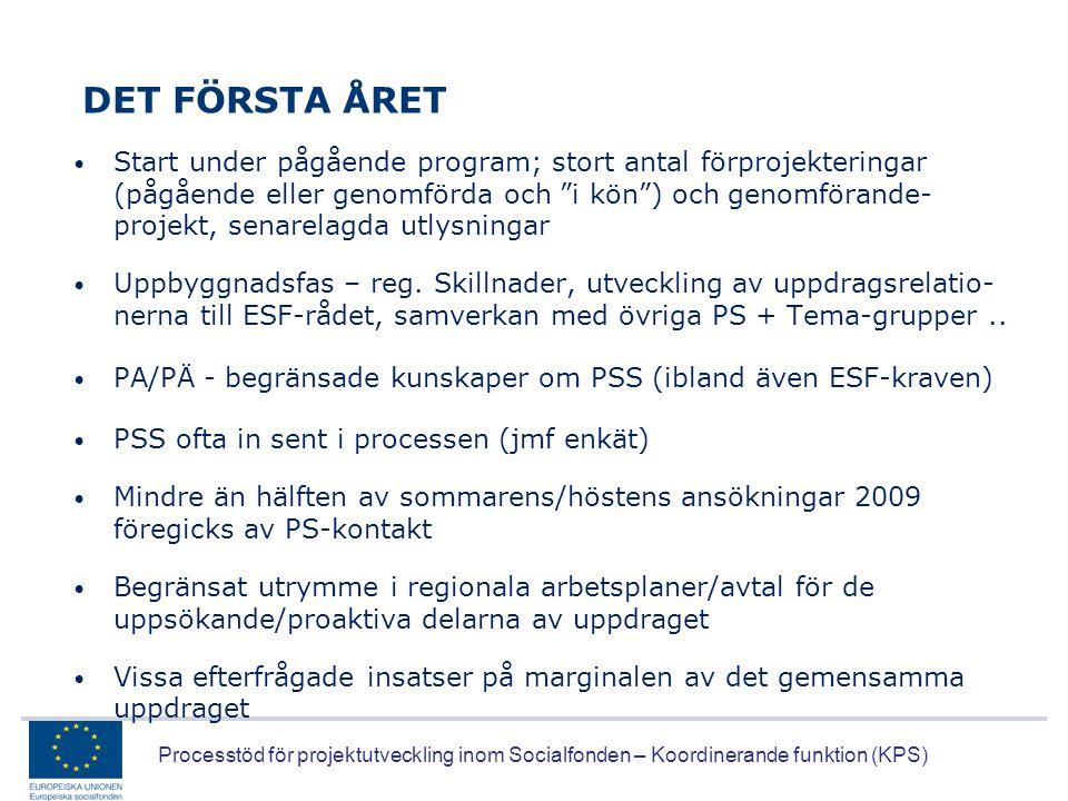 Processtöd för projektutveckling inom Socialfonden – Koordinerande funktion (KPS) DET FÖRSTA ÅRET • Start under pågående program; stort antal förproje