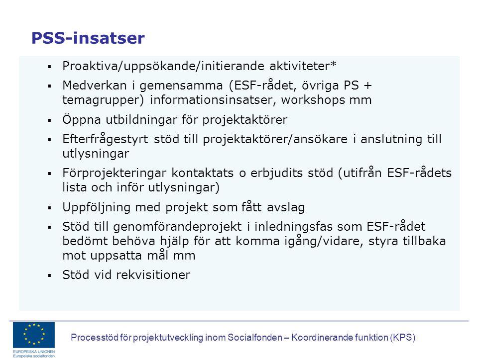 Processtöd för projektutveckling inom Socialfonden – Koordinerande funktion (KPS) PSS-insatser  Proaktiva/uppsökande/initierande aktiviteter*  Medve