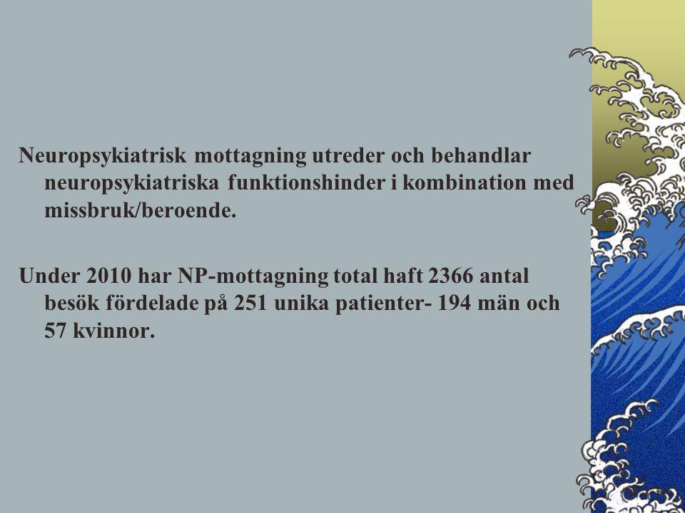 Neuropsykiatrisk mottagning utreder och behandlar neuropsykiatriska funktionshinder i kombination med missbruk/beroende.