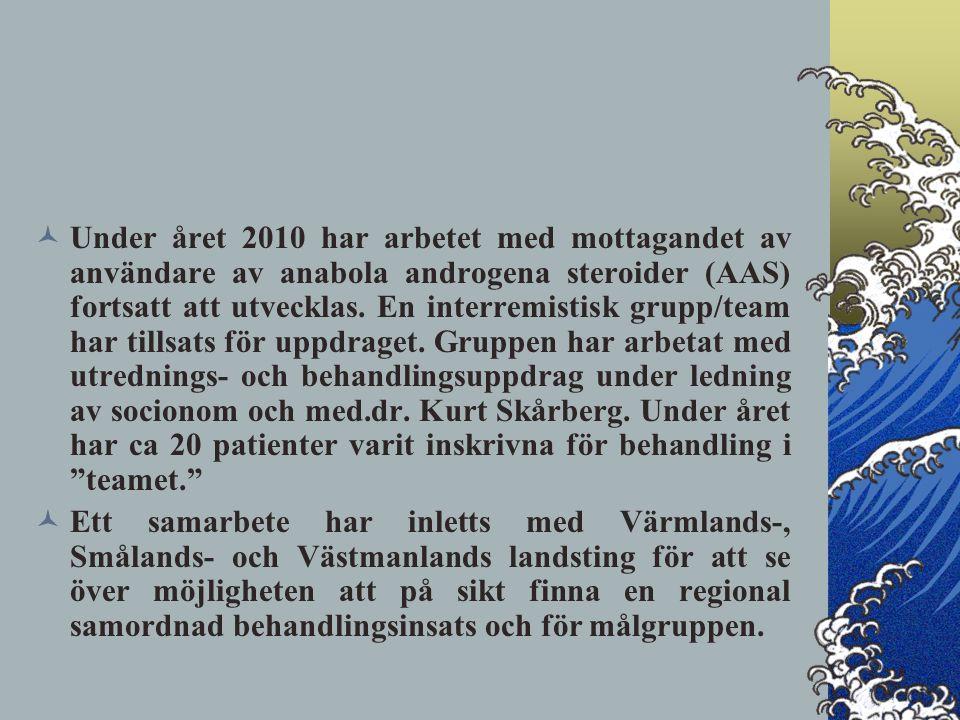 Under året 2010 har arbetet med mottagandet av användare av anabola androgena steroider (AAS) fortsatt att utvecklas.