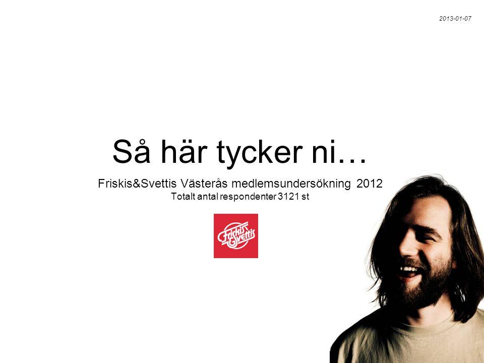 Friskis&Svettis Västerås medlemsundersökning 2012 Totalt antal respondenter 3121 st Så här tycker ni… 2013-01-07