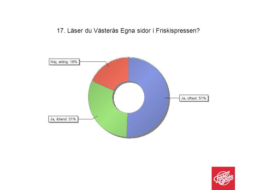 17. Läser du Västerås Egna sidor i Friskispressen?