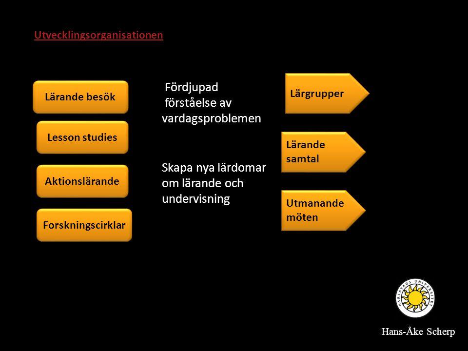 Lärande besök Aktionslärande Lesson studies Forskningscirklar Fördjupad förståelse av vardagsproblemen Skapa nya lärdomar om lärande och undervisning Lärande samtal Lärgrupper Utmanande möten Utvecklingsorganisationen Hans-Åke Scherp