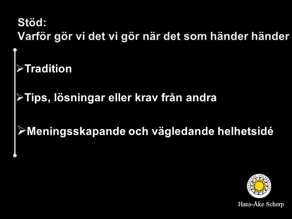 Stöd: Varför gör vi det vi gör när det som händer händer  Tradition  Tips, lösningar eller krav från andra  Meningsskapande och vägledande helhetsidé Hans-Åke Scherp