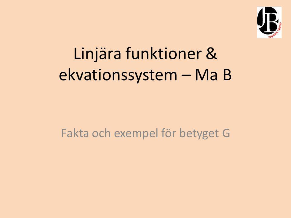 Linjära funktioner & ekvationssystem – Ma B Fakta och exempel för betyget G