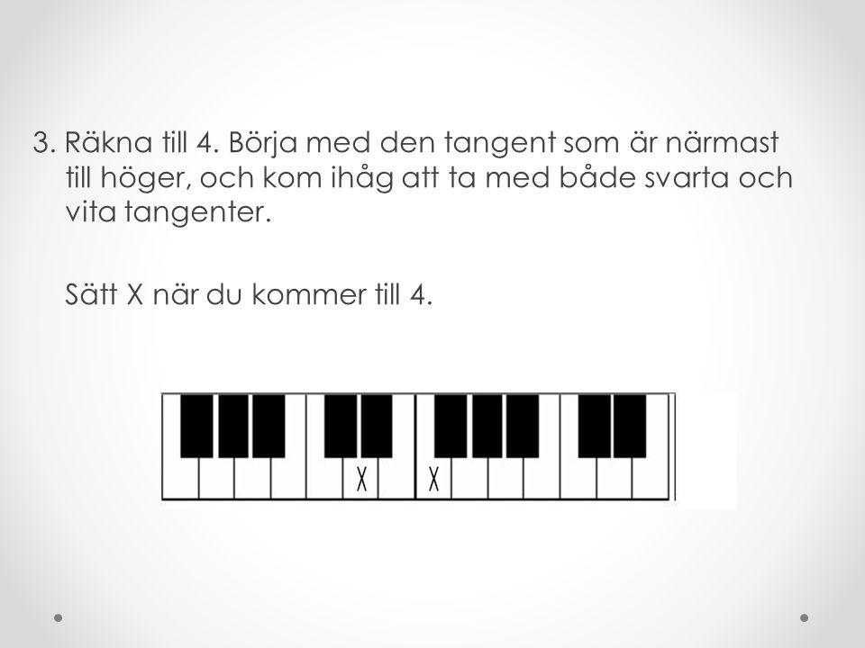 2. Räkna till 3 med början på den tangent som är närmast till höger om X. Kom ihåg att räkna både svarta och vita tangenter! Sätt ett X när du kommer