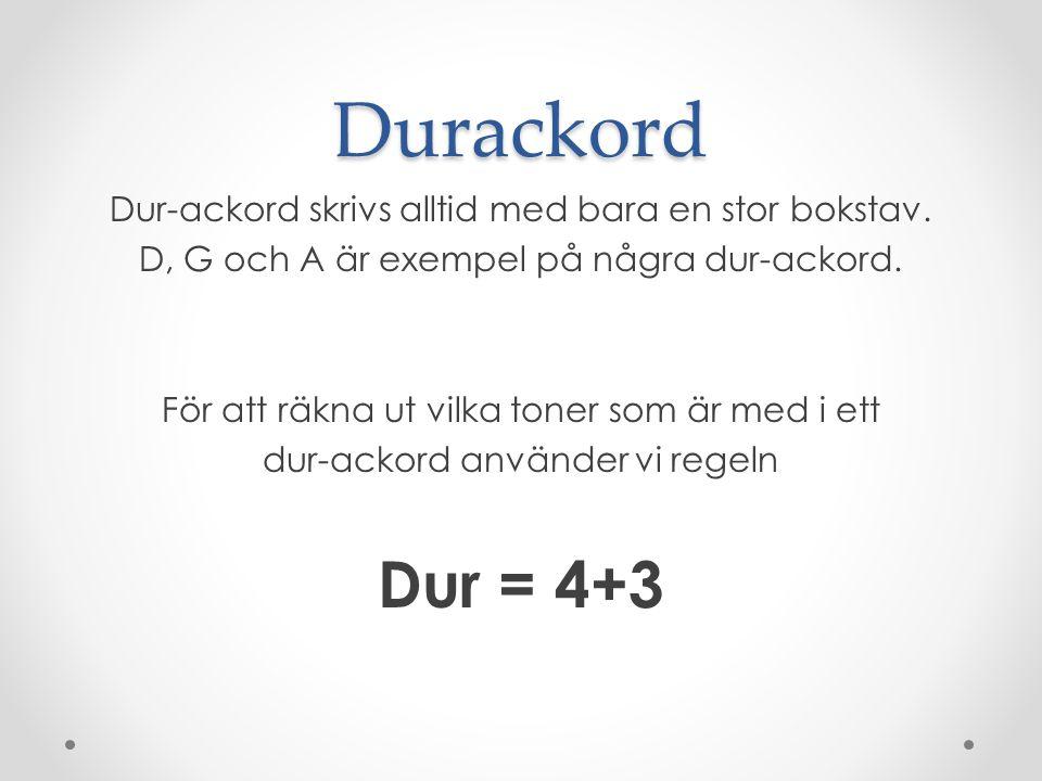 Durackord Dur-ackord skrivs alltid med bara en stor bokstav.