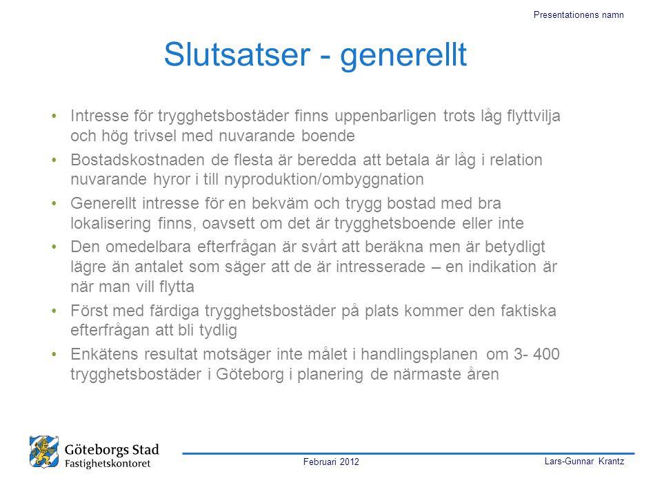 Februari 2012 Lars-Gunnar Krantz Presentationens namn Slutsatser - generellt •Intresse för trygghetsbostäder finns uppenbarligen trots låg flyttvilja