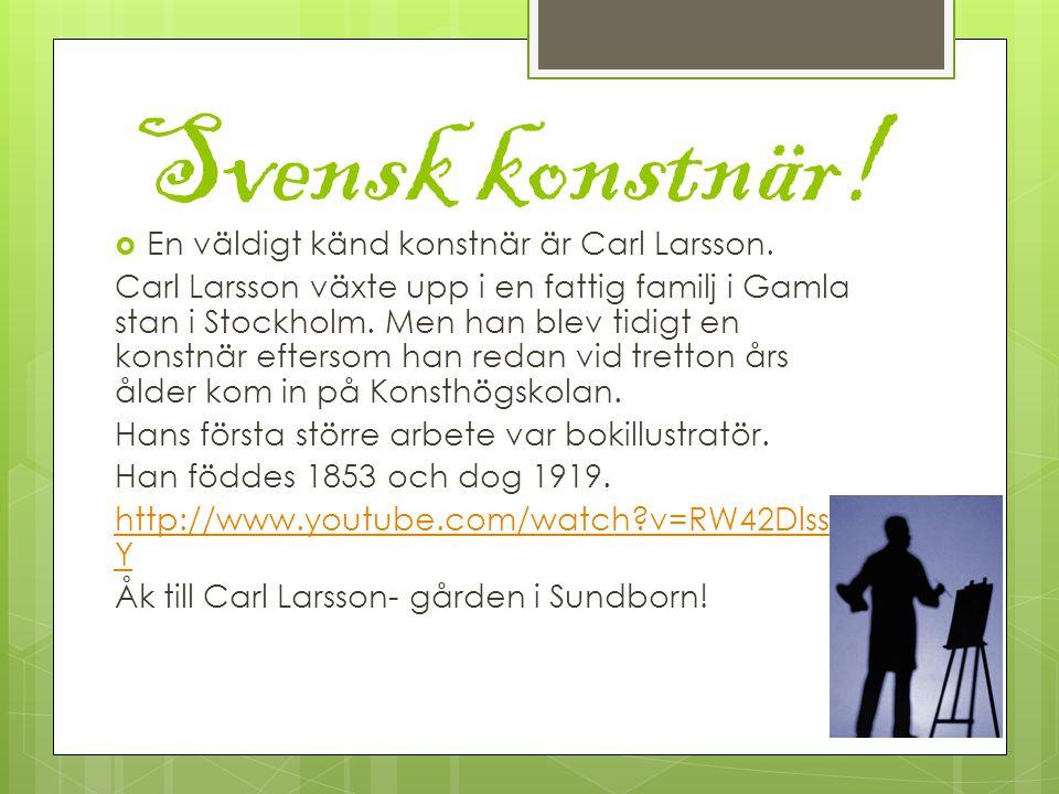 Svensk konstnär. En väldigt känd konstnär är Carl Larsson.