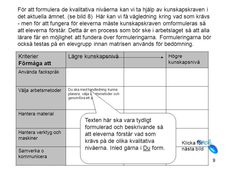 Klicka för nästa bild 10 Kriterier Förmåga att Lägre kunskapsnivåHögre kunskapsnivå Använda fackspråk Välja arbetsmetoder Du ska med handledning kunna planera, välja arbetsmetoder och genomföra ett arbete.