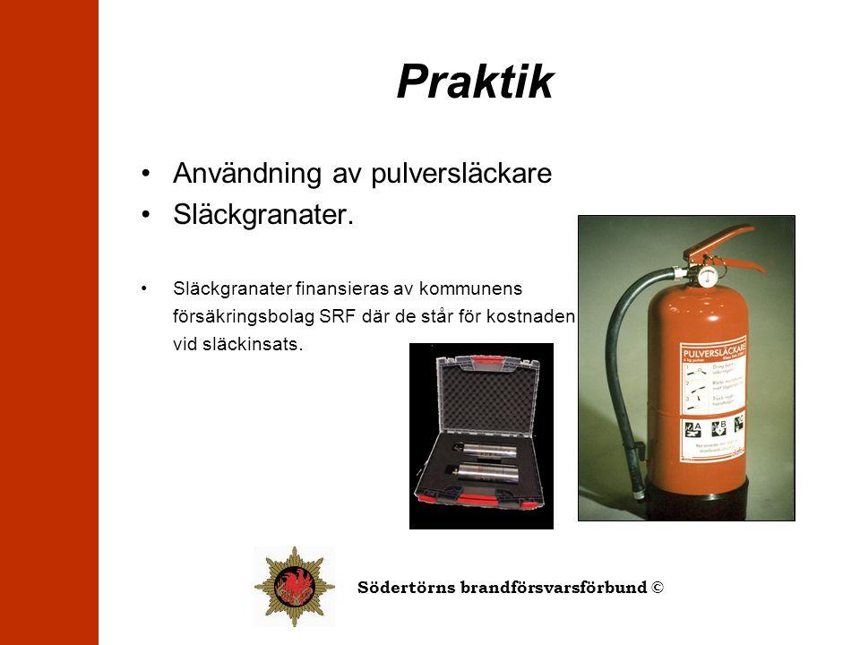 Praktik •Användning av pulversläckare •Släckgranater. •Släckgranater finansieras av kommunens försäkringsbolag SRF där de står för kostnaden vid släck