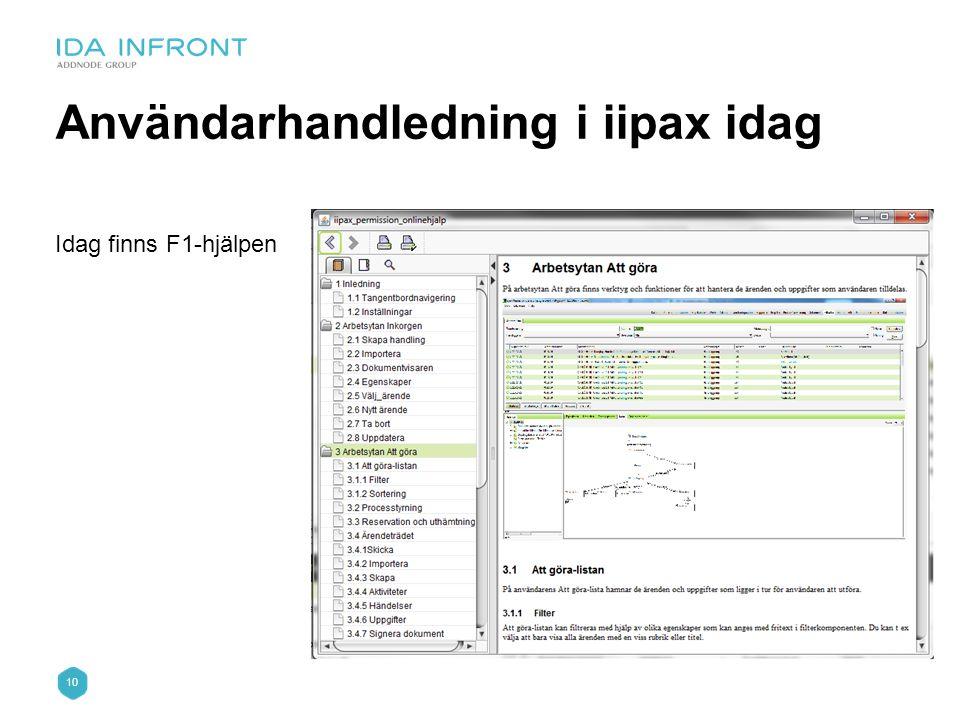 10 Användarhandledning i iipax idag Idag finns F1-hjälpen