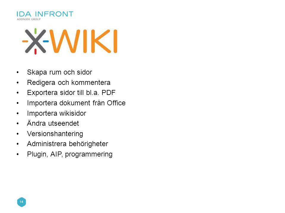 14 •Skapa rum och sidor •Redigera och kommentera •Exportera sidor till bl.a. PDF •Importera dokument från Office •Importera wikisidor •Ändra utseendet