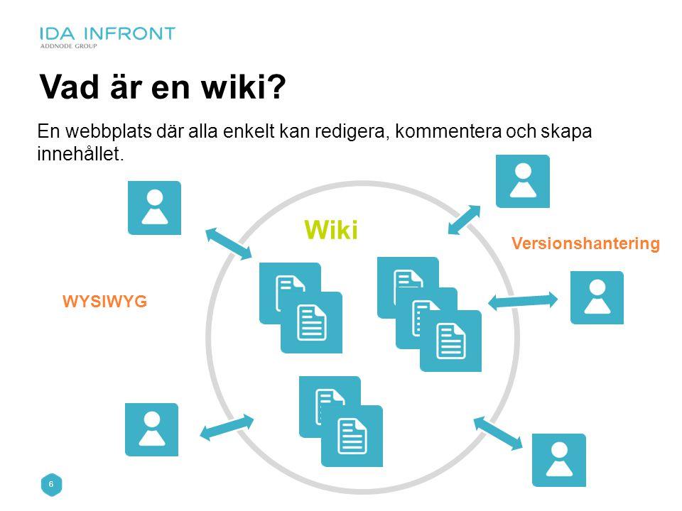 6 Vad är en wiki? En webbplats där alla enkelt kan redigera, kommentera och skapa innehållet. Wiki WYSIWYG Versionshantering