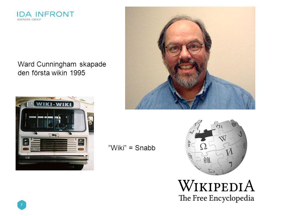 8 Vad används wikis till? •Som verktyg för projektgrupper •Intranät •Communities •Undervisning •…