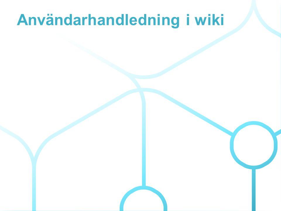 Användarhandledning i wiki