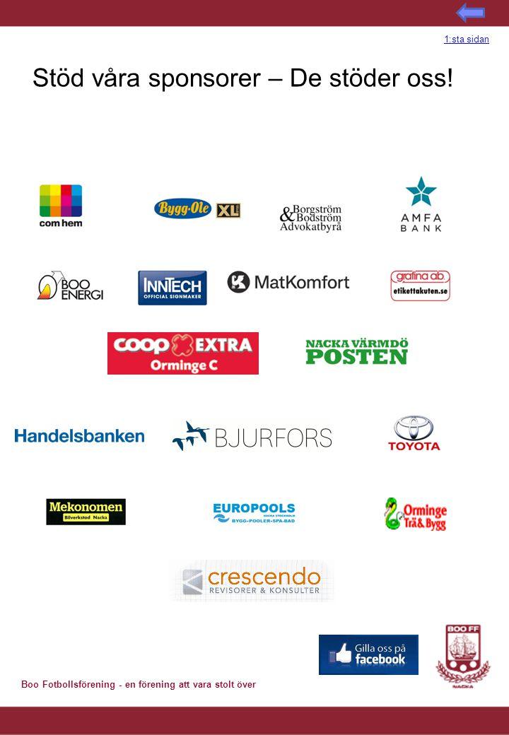 Boo Fotbollsförening - en förening att vara stolt över Stöd våra sponsorer – De stöder oss! 1:sta sidan