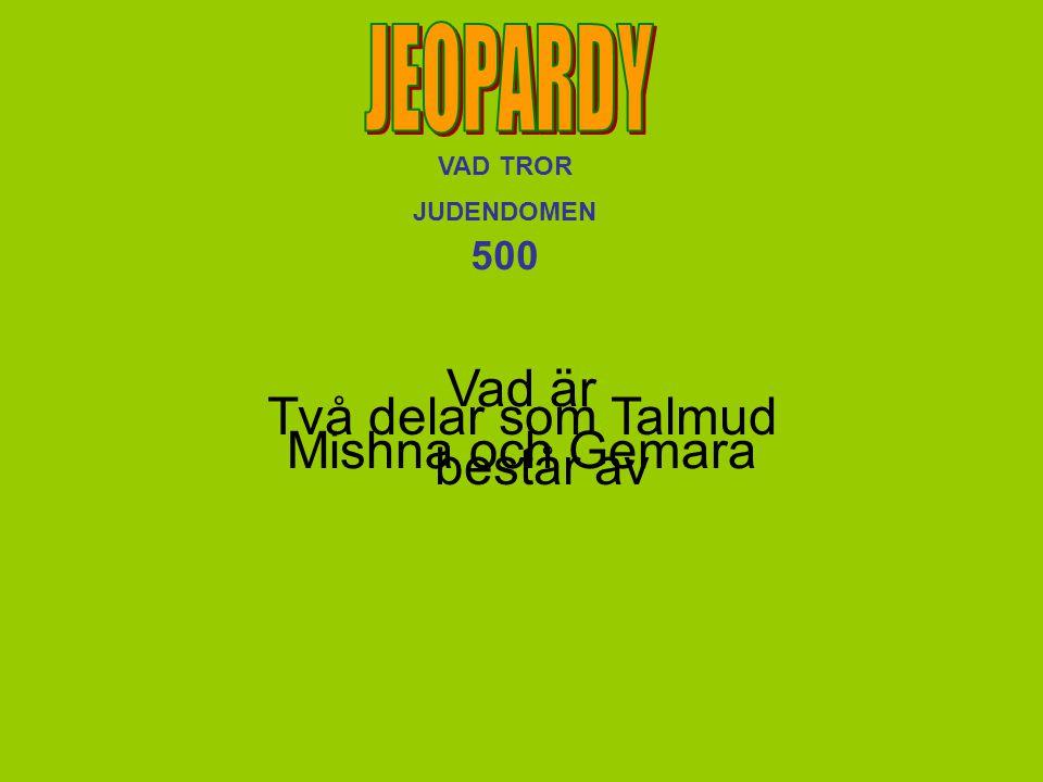 VAD TROR JUDENDOMEN 500 Vad är Mishna och Gemara Två delar som Talmud består av