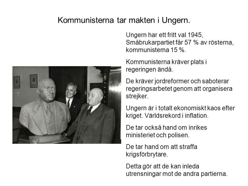 Kommunisterna tar makten i Ungern. Ungern har ett fritt val 1945, Småbrukarpartiet får 57 % av rösterna, kommunisterna 15 %. Kommunisterna kräver plat