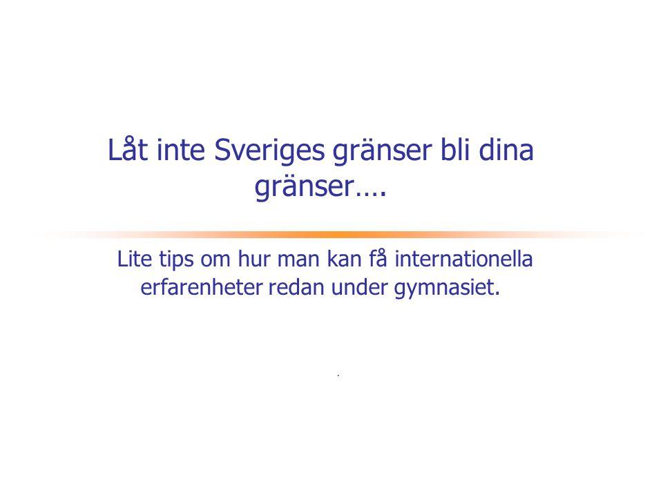 Låt inte Sveriges gränser bli dina …  Många ungdomar drömmer om att få plugga utomlands, se andra länder och kulturer, lära språk, få nya vänner och nya erfarenheter.
