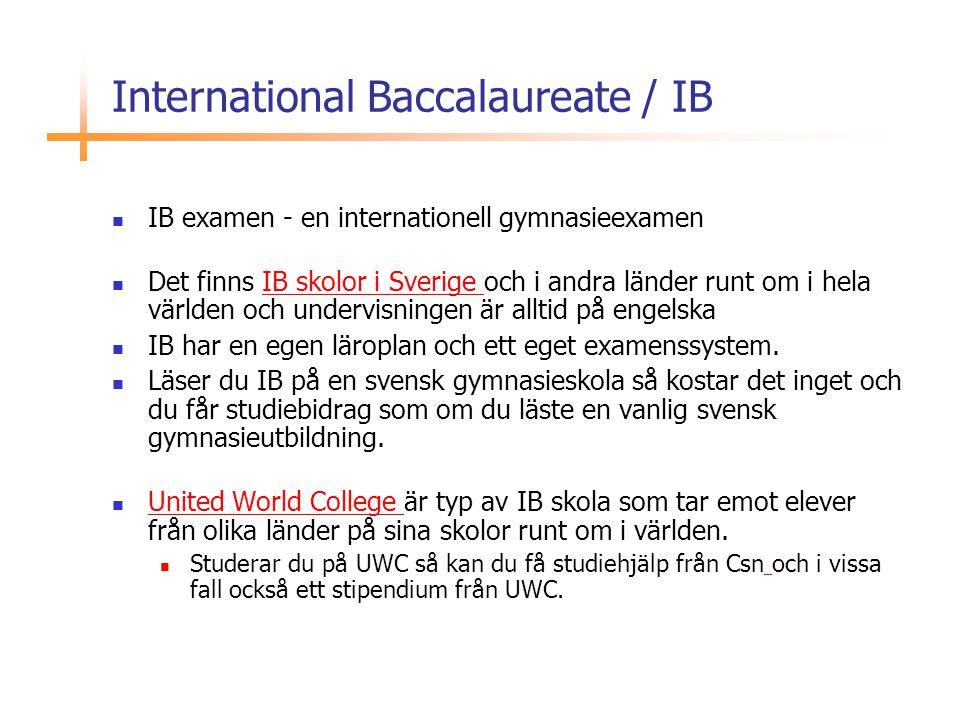 International Baccalaureate / IB  IB examen - en internationell gymnasieexamen  Det finns IB skolor i Sverige och i andra länder runt om i hela värl