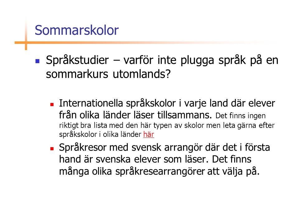 Sommarskolor  Språkstudier – varför inte plugga språk på en sommarkurs utomlands?  Internationella språkskolor i varje land där elever från olika lä