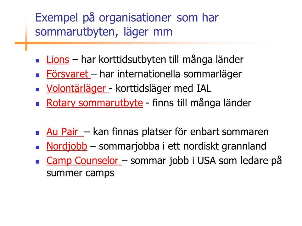 Exempel på organisationer som har sommarutbyten, läger mm  Lions – har korttidsutbyten till många länder Lions  Försvaret – har internationella somm