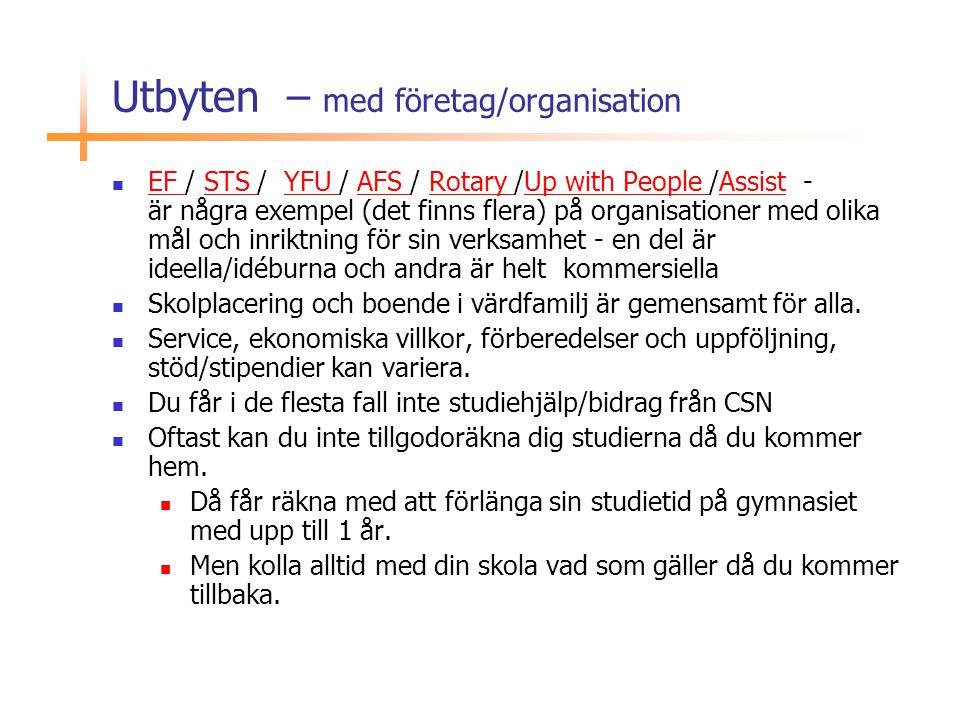 Utbyten – med företag/organisation  EF / STS / YFU / AFS / Rotary /Up with People /Assist - är några exempel (det finns flera) på organisationer med