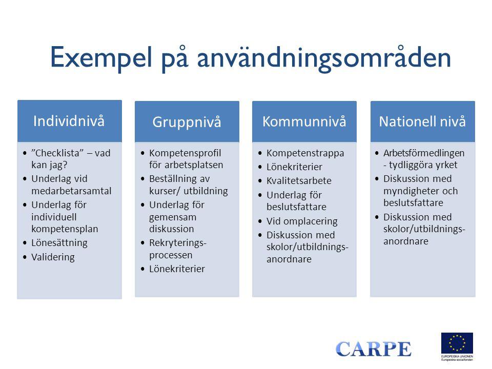 """Exempel på användningsområden Individnivå •""""Checklista"""" – vad kan jag? •Underlag vid medarbetarsamtal •Underlag för individuell kompetensplan •Lönesät"""
