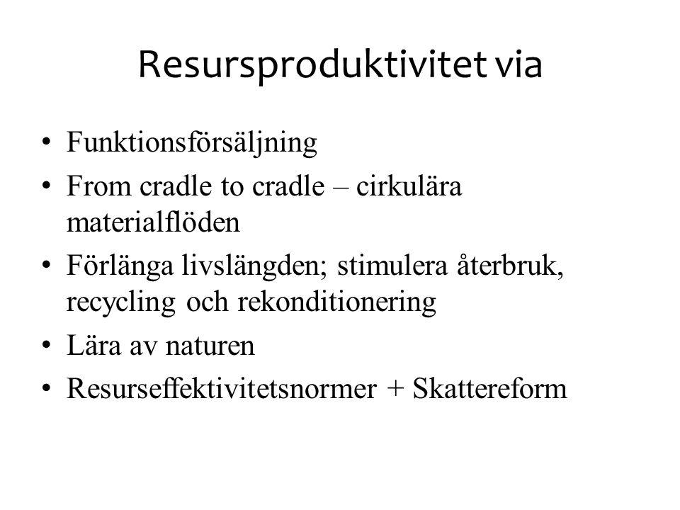 Resursproduktivitet via • Funktionsförsäljning • From cradle to cradle – cirkulära materialflöden • Förlänga livslängden; stimulera återbruk, recyclin