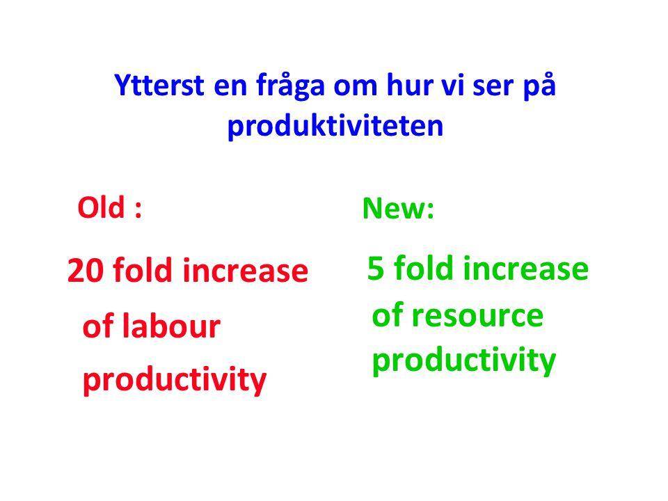 Ytterst en fråga om hur vi ser på produktiviteten Old : 20 fold increase of labour productivity New: 5 fold increase of resource productivity