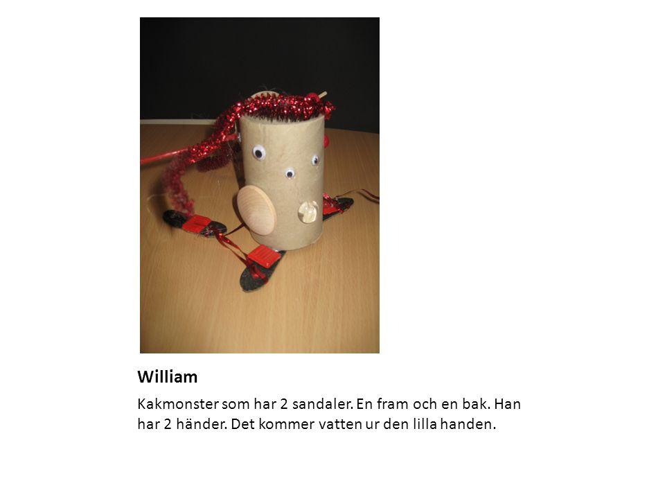 William Kakmonster som har 2 sandaler. En fram och en bak. Han har 2 händer. Det kommer vatten ur den lilla handen.