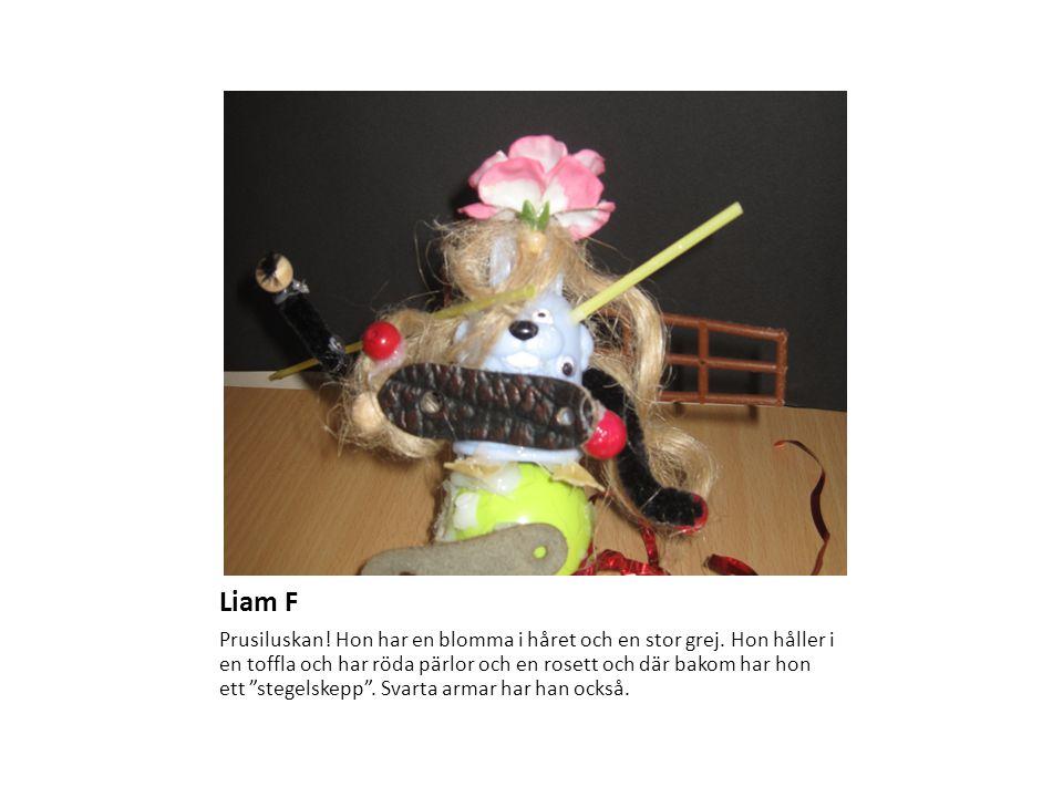 """Liam F Prusiluskan! Hon har en blomma i håret och en stor grej. Hon håller i en toffla och har röda pärlor och en rosett och där bakom har hon ett """"st"""
