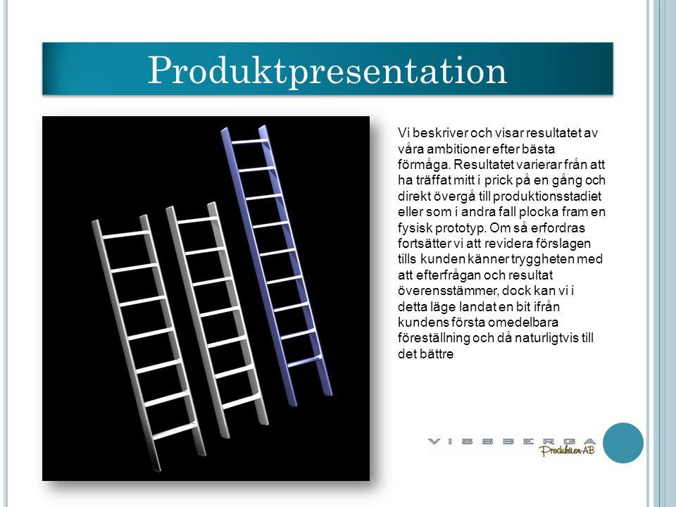 Produktpresentation Vi beskriver och visar resultatet av våra ambitioner efter bästa förmåga.